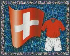 MERLIN-ENGLAND 2006 WORLD CUP- #383-SWITZERLAND TEAM FLAG & KIT-SILVER FOIL