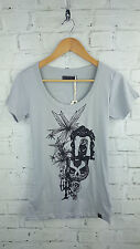 New Ladies Designer Numph Owl Print Short Sleeve T-shirt Top in Grey Sz Small