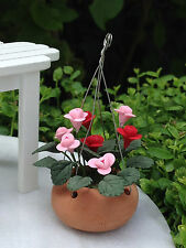Miniature Dollhouse FAIRY GARDEN ~ Pink & Red Flowers in Hanging Pot