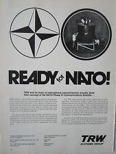 1/1973 PUB TRW SYSTEMS SATELLITE TELECOMMUNICATIONS OTAN NATO SATCOM ORIGINAL AD