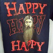 Duck Dynasty Men's S, Phil Happy Happy Happy 100% Cotton Navy T-shirt NWOT