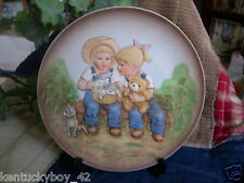 """Home Interiors HOMCO Denim Days """"A SUNNY DAY"""" Plate w/Easel w/TAG #1505"""