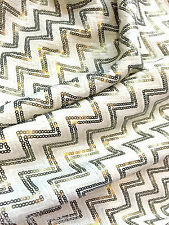 "ZIG ZAG SEQUIN 4W STRETCH IVORY GOLD FABRIC 52""W Tablecloth Clothing DANCEWEAR"