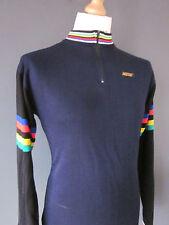 "VINTAGE 70s NICOSPORT CYCLING JERSEY (L-6-42"") BLUE/BLACK ACRYLIC ZIP-NECK HIPS"