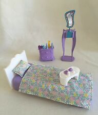 Barbie Bed Purple Bedroom Furniture 1990's Vanity Bureau Accessories