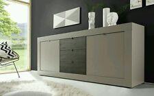 Madia mobile soggiorno moderno color sabbia laccato opaco e wengé