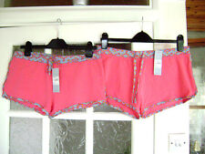 Two Pairs of Ladies, New, Dark Pink Decorated Jersey Shorts, Size 14 ( 42 )