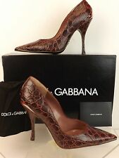 NIB DOLCE & GABBANA BURGUNDY NATURAL CROCODILE LEATHER POINTED TOE PUMPS 37.5