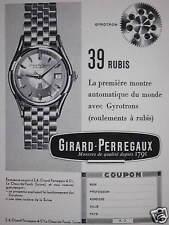 PUBLICITÉ GYROTRON 39 RUBIS LA PREMIERE MONTRE AUTOMATIQUE G.PERREGAUX