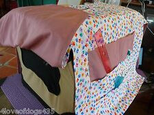 Colorful Paws Mauve Dog Cat Crate Cover Handmade for Dog shows Large Pockets
