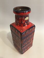 Fat lava jarrón Bay 7025 West Germany Pottery WGP Blue red 70s 70er Design