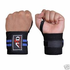 ARD Power Weight Lifting Wrist Wraps Supports Gym Training Fist Straps Blk & Blu