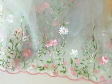 """53"""" Wide Lace Organza  Fabric with Embroidery Flowers and Scalloped Edge"""