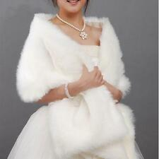 Ivory Faux Fur Shawl Wrap Shrug Coat Bridal Wedding Dress Cocktail Stole