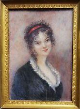 Miniatur Portrait einer jungen Frau, Gouache Malerei, um 1900
