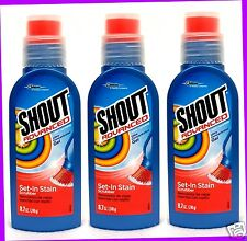 3 Shout Advanced LAUNDRY STAIN REMOVER Set-In Stain SCRUBBER Concentrated Gel
