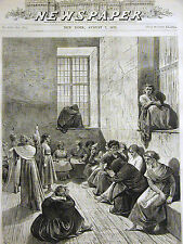 Philadelphia Almshouse INSANE ASYLUM INMATES Patients MEDICAL 1875 Print Matted