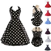 VINTAGE PinUp Retro 50's 60's Party Polka Dots Swing Prom Short Dress