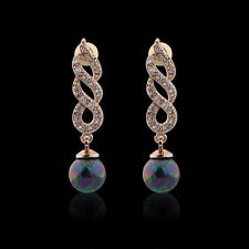 18K gold filled Dazzling Swarovski crystal& pearl lady brilliant dangle earrings