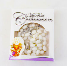 First Holy Communion White Rosary Beads Necklace Boys Girls Gift