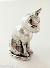 Cat Sitting Pewter Ornament - Hand Made in Cornwall - SF14