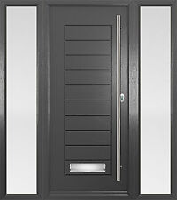 Grey Palmero Solidor Composite Door - Anthracite Grey with Sidelights