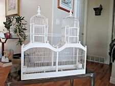 Vtg White Wood Bird Cage Architechtural Wooden Cathedral Victorian Double Dome