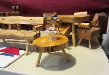 VINTAGE MID CENTURY MODERN RUSTIC DOLLHOUSE FURNITURE - BAR - TABLE / CHAIRS