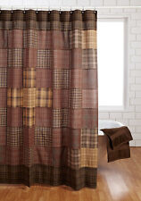 PRESCOTT Shower Curtain Tan/Brown Primitice Patchwork Rustic Cabin Bathroom