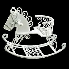 White Wire Nursery New Rocking Horse Chair 1:12 Doll's House Dollhouse Miniature