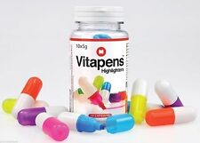 VITAPENS VITAMIN PILL SHAPED HIGHLIGHTERS Magic Markers 10 Capsule Bottle Pens