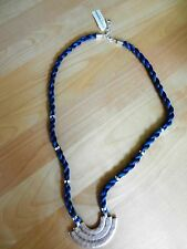 Lucky Brand Silver-Tone Blue Cord Pendant Necklace MSRP $45