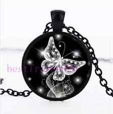 Butterfly Diamond Photo Cabochon Glass Black Chain Pendant Necklace