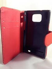 Red WALLET Plain Leather Phone Case for Samsung Galaxy S2 II GT-I9100