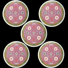 "CHINESE MALA MELAMINE PLASTIC 8"" PLATES PINK CALLIGRAPHY & SCROLL - FIVE"