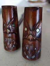 LAVA LOUNGE/ MAORI  ! HAND CARVED TIKI FACE SALT & PEPPER CLUBS