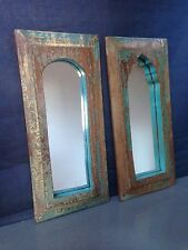 ANTIQUE/VINTAGE INDIAN TEMPLE MIRRORS, LARGE PAIR. TEAL & CINNAMON ON TEAK.
