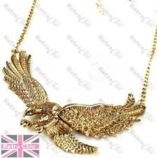 BIG METAL EAGLE COLLAR chain NECKLACE bib GOLD PLATED feather wings claw detail
