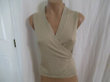 Kate Hill solid Beige Silk Wrap Vest size Misses Small Does Not Have Fur