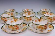 Haviland Limoges Schleiger Green Trim Orange Flowers Set of 8 Ramekins & Plates