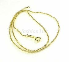 46cm 14K Yellow Gold Plated Spring Clasp Unisex Circle Chain Necklace Xmas Gift
