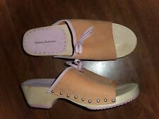 HANNA ANDERSSON - OPEN TOE CLOGS - PEACH & PINK SUEDE - LADIES 40/9-9.5