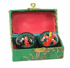 Set Green Chinese Baoding Phoenix Dragon Cloisonne Iron Ball Hand Stress Relief