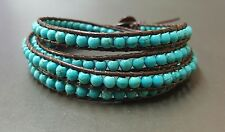 Turquoise Brown  Leather Wrap Bracelet/Anklet