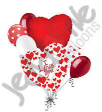7 pc I Love You Red Heart Valentines Day Balloon Bouquet Be Mine Hug Kiss