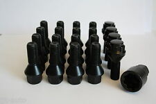 16 X M12 X 1.5 27MM ALLOY WHEEL BOLTS & LOCKING BOLTS BLACK TAPERED LUG NUTS