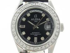 ALPHA Lady orologio Automatico Full Stone Black Leather 3.9 Carati