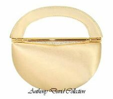 Ladies Gold Satin & Metal Evening Bag Handbag Purse with Swarovski Crystals