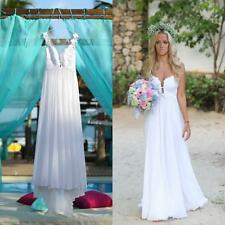 Beach Chiffon Bridal Gown Appliques Wedding Dress Custom Size 4 6 8 10 12 14 16+