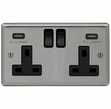 BRUSHED STEEL USB DOUBLE SOCKETS, STANDARD & LED DIMMER LIGHT SWITCH FUSED SPURS